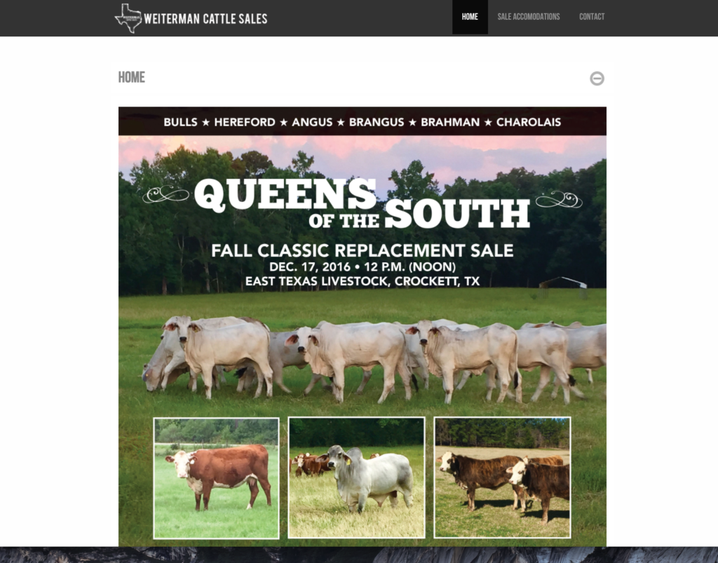 Weiterman Cattle Sales website